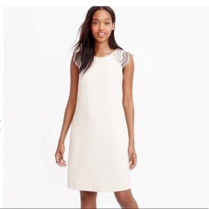 J. Crew Ivory Shift Dress with Lace Capped Sleeves